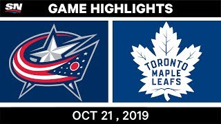 NHL Highlights | Blue Jackets vs Maple Leafs - Oct 21 2019
