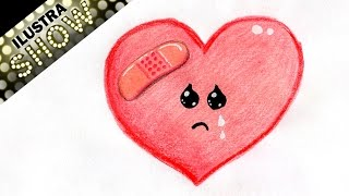 Como dibujar un Corazon Triste - Curita - Corazones - Amor - Tutorial - ILUSTRA SHOW