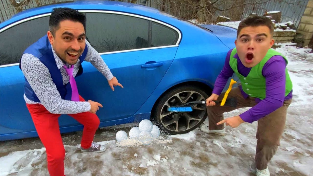 Mr. Joker PUT Mountain of SNOW Under WHEELS of Car VS Mr. Joe on Opel SLIPS 13+