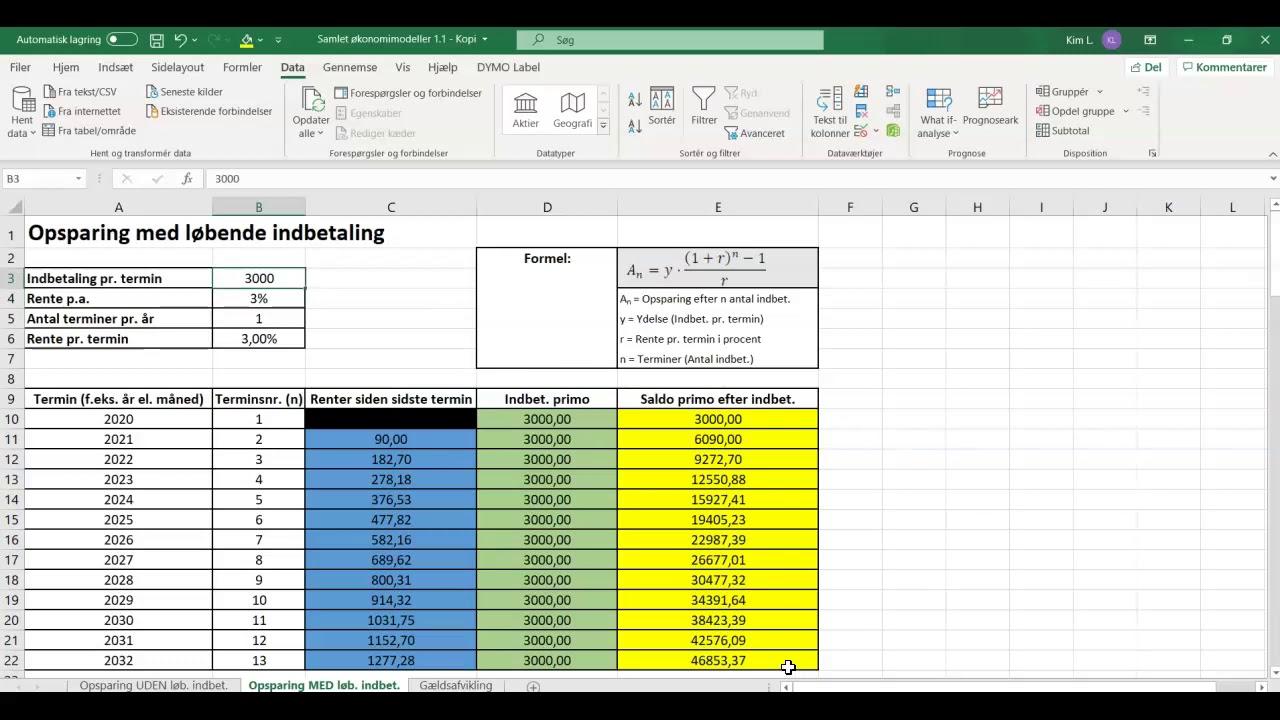 Målsøgning i Excel til Økonomikompendium