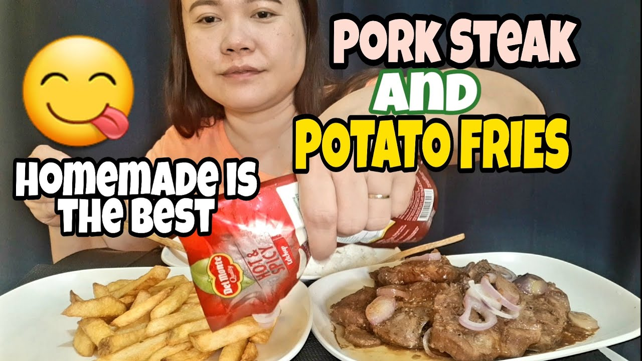 PORK STEAK + POTATO FRIES MUKBANG!! PINOY MUKBANG