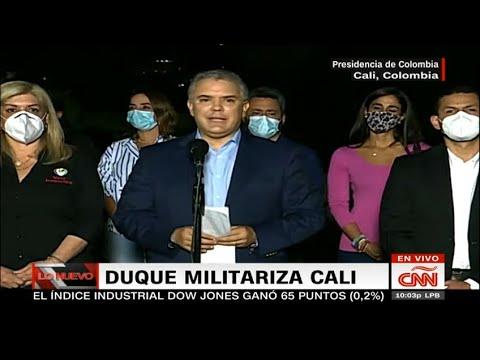 """Iván Duque llega a Cali y anuncia """"máximo despliegue"""" militar en todo Valle del Cauca"""