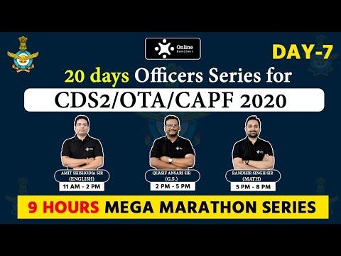 CDS 2 / OTA / CAPF 2020 | 20 Days Officers Series | 9 Hours Mega Marathon | By Online Benchers