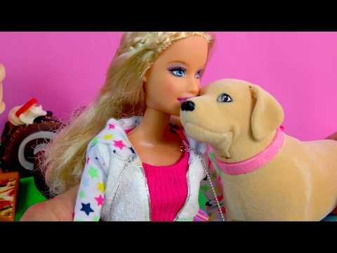 Barbie Doll & Dog Tanner Eats Treats,  Plays, Playset with Scooper - Toy Review Video