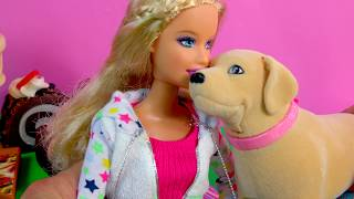 Barbie Doll & Dog Tanner Eats Treats, Poops, Plays, Playset with Pooper Scooper - Toy Review Video