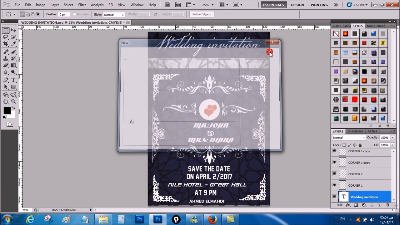 تصميم بطاقة دعوة لحفل زواج بالفوتوشوب Youtube