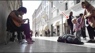 【クロアチア】女児が釘付けになるほどの演奏を見せる男| Busking