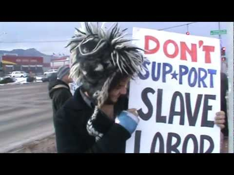 Protesting Walmart Between Snow Storms - Occupy Colorado Springs - Dec. 21, 2011