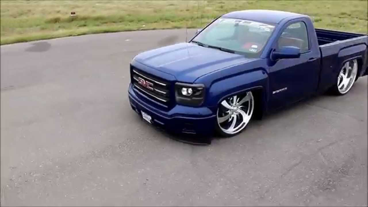 Chevy Silverado Custom Wheels >> 2014 GMC Sierra Twin Turbo NO music only Burnout! - YouTube