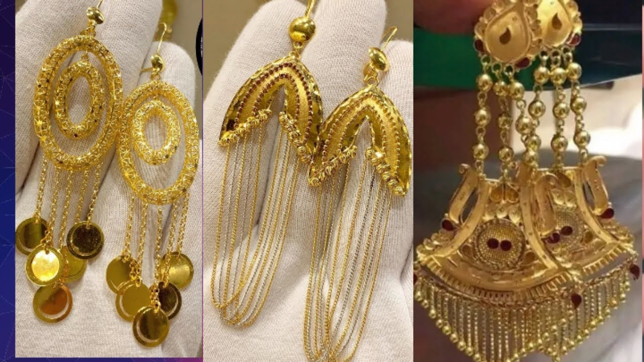#stylish gold earring hanging design with weight and price //wedding earrings design no :-5