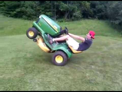 John Deere lawn mower wheelie