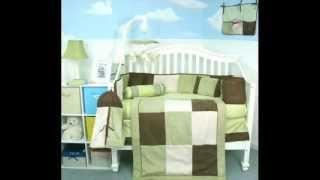 Sage & Brown Suede 10 Pcs Baby Crib Bedding Set ; Brown Baby Bedding
