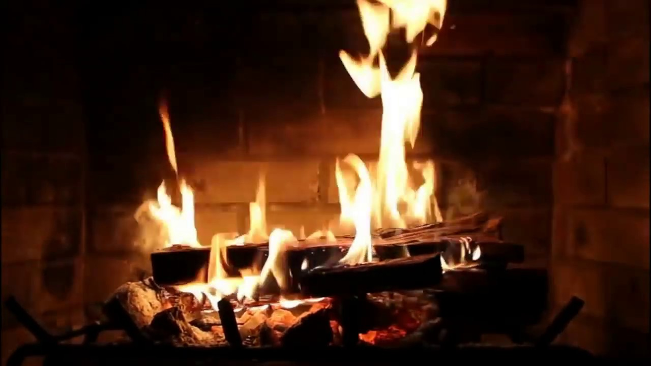2 Hours Soft Rock Music with Burning Fireplace with