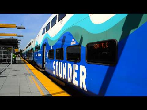 Sound Transit : Seattle Bound 7-Car Sounder Train Of BiLevels With EMD F59PHI 908 @ Tukwila Station