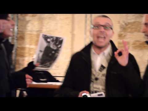 Blitz Alessandro Carluccio al convegno di Renato Curcio, ex Brigatista.