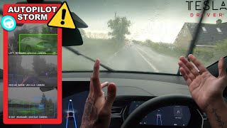 Tesla Autopilot Driving Through Flooded Roads In Heavy Storm Winds & Rain - Will It Still Work?