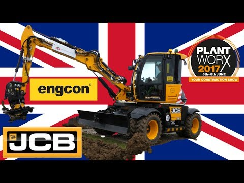 JCB Hydradig with engcon tiltrotator at Plantworx 2017