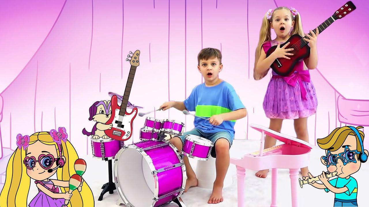 Диана и Рома делают музыкальные инструменты, мультфильм