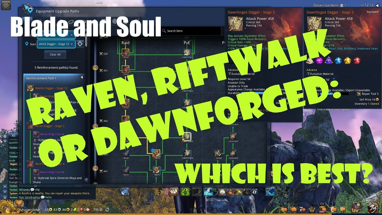 [Blade and Soul] Rifwalk, Dawnforged, or Raven: Which Weapon is Best?