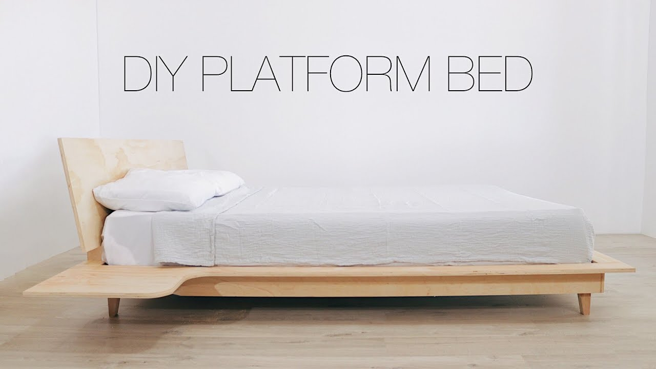 Diy Platform Bed With Build In Nightstands Modern Builds Youtube