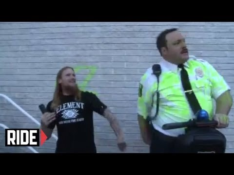 Skateboarder Mike Vallely punks Kevin James in a Paul Blart Mall Cop parody