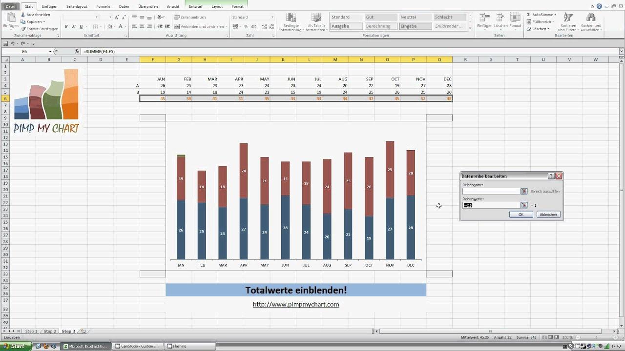 PIMP MY CHART - Video 001 - Gestapelte Säulen mit Totalwerten - YouTube