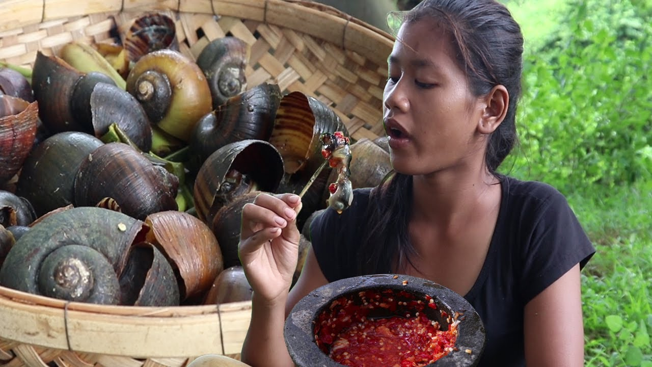 Find snails by the river for lunch and steamed snail tasty with chili sauce for a delicious meal