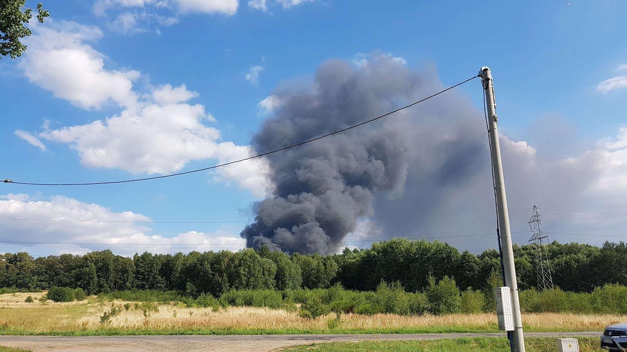 Potężny pożar składowiska odpadów chemicznych koło Polkowic