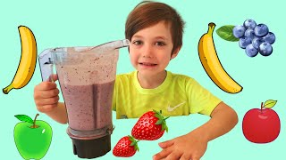 DIY Homemade fruit Smoothie with learn and play with zack