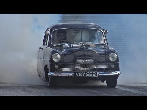 1000HP+ Procharged Mk1 Ford Consul At Santa Pod Raceway