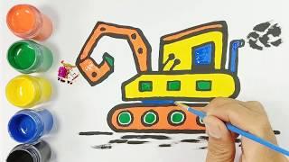 Bé tập vẽ tô màu và trang trí xe máy xúc | Draw and color the excavator car