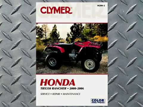 Clymer Service Manual Sneak Preview  20002006 Honda TRX350 FourTrax Rancher ATV Quads  YouTube