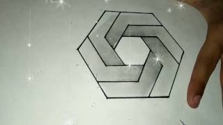 How to Draw The Impossible 3D Hexagon Shapes For Kids By R S Creative