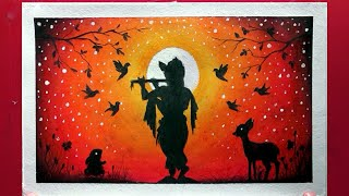 Krishna Janmashtami Drawing with oil pastel for beginners - Step by step
