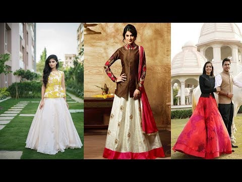 Beautiful Lehenga With Long Blouse /  New Stylish  Blouse Lehenga Designs
