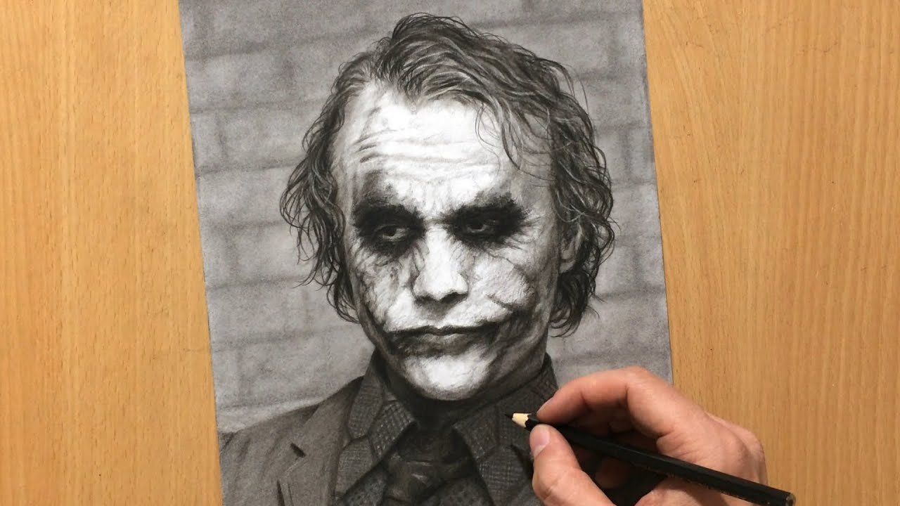 How To Draw Heath Ledger As Joker In Charcoal Youtube