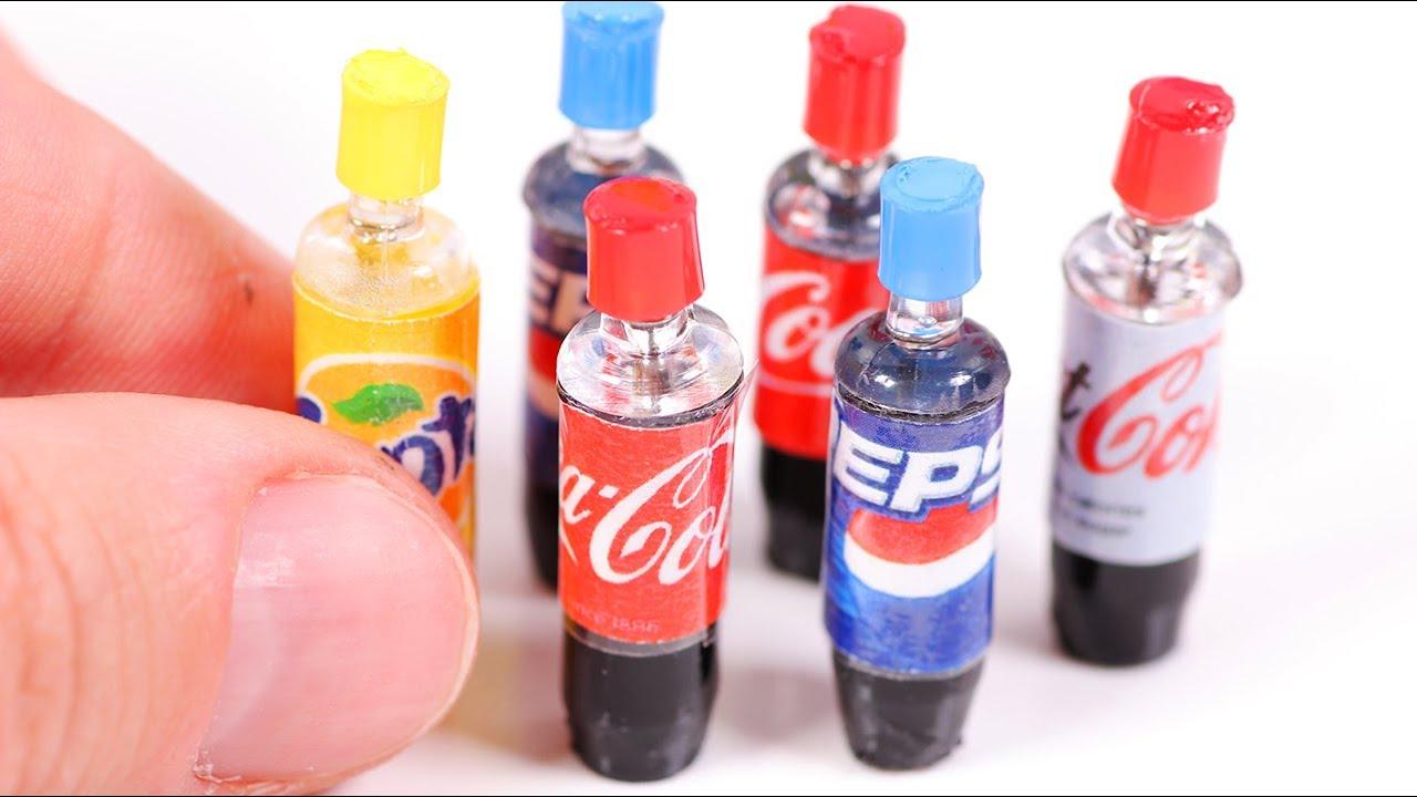 DIY Miniature Soda Bottles ~ Coca-Cola etc. - YouTube