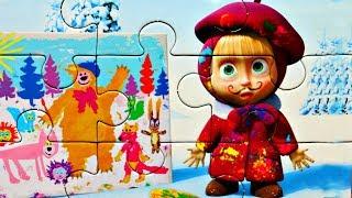 Маша и Медведь - Маша художник - картина маслом - собираем пазлы для детей маша и медведь