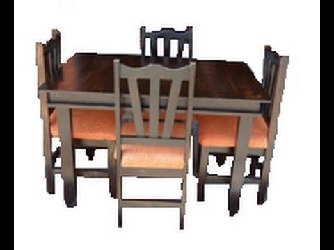 Juego de comedor rustico 4 sillas Jc01 - YouTube
