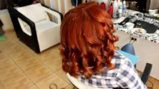 Окрашивание в рыжий цвет.ЗАВИВКА волос КОНУСНОЙ ПЛОЙКОЙ