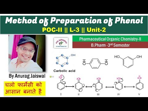 Method of Preparation of Phenol  || L-3 || Unit-2 Pharmaceut
