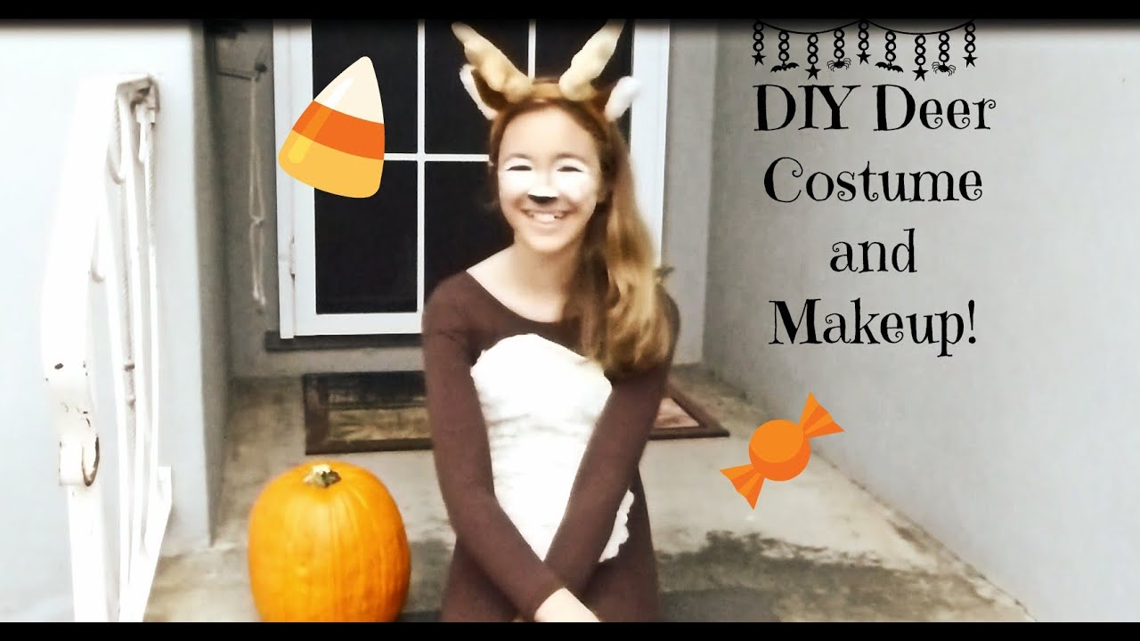 Diy deer costume and makeup youtube solutioingenieria Gallery