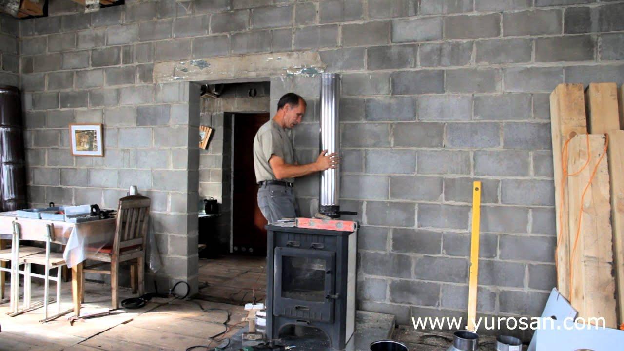 монтажная площадка для сэндвич дымохода через стену