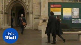 Felicity Jones arrives at Stephen Hawking's funeral in Cambridge
