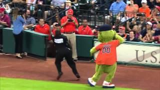 orbit houston astro s mascot clash a security guard