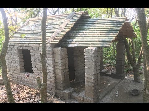 Primitive technology with survival skills Wilderness build house Roman part 8