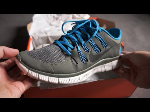 newest 62a21 06684 NIKE FREE 5.0+ V2 Running Shoes - Grey Blue White - unboxing   on feet  review