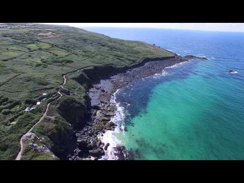 Porthmeor Beach St Ives, Cornwall near Tate Gallery with 4k drone