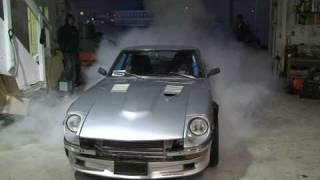 Dusty's datsun does a nice smokey burnout coming into the shop, the...