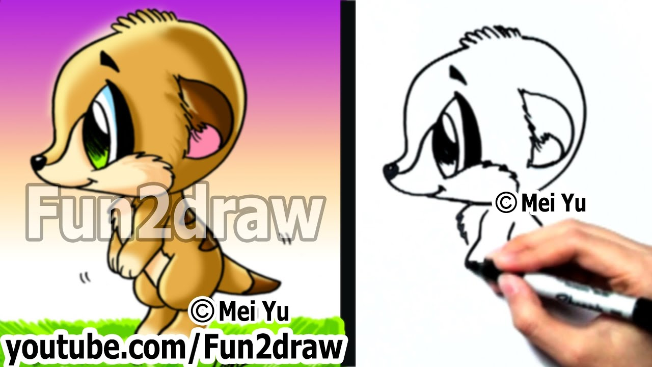 How To Draw Cartoons Easy  How To Draw A Meerkat  Draw Animals  Fun2draw   Youtube